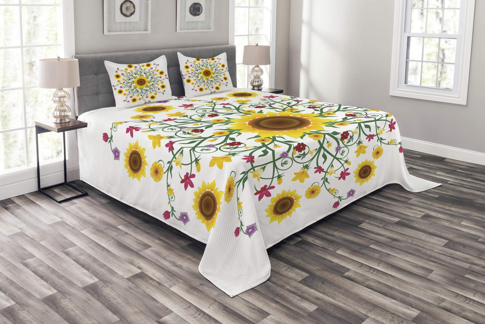 Lunarable Yellow Mandala Bedspread, Round Motif with Wild Spring Blooms and Sunflowers Botanical Swirls Corsage, Decorative Quilted 3 Piece Coverlet Set with 2 Pillow Shams, Queen Size, Mustard Green by Lunarable