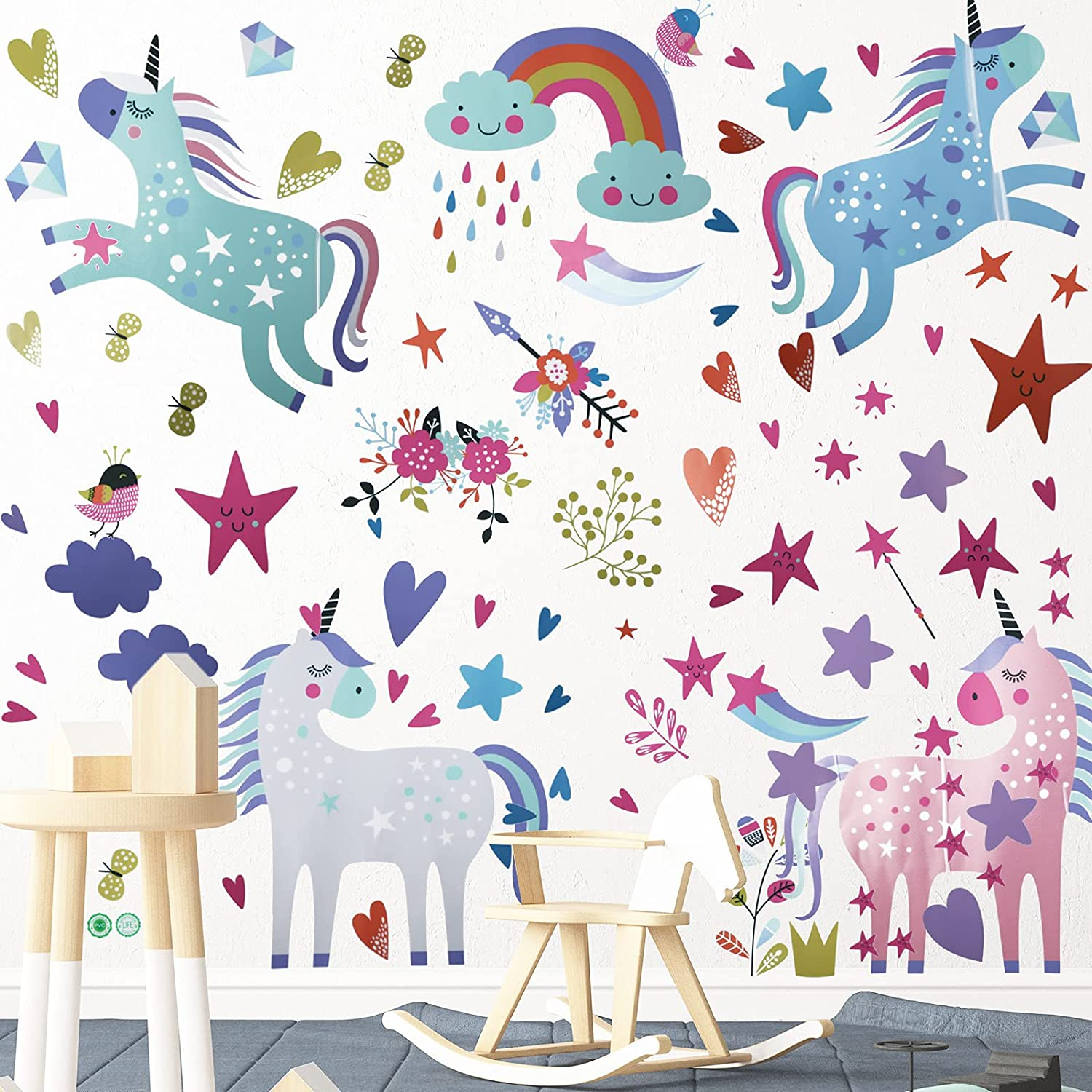 2 Sheets Unicorn Wall Decals Removable Unicorn Rainbow Wall Stickers for Girls Kids Bedroom Nursery Birthday Party Decor