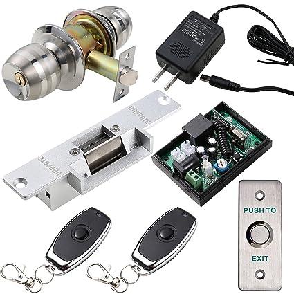 UHPPOTE - Juego de cerradura de puerta eléctrica y mando a distancia RF con botón de