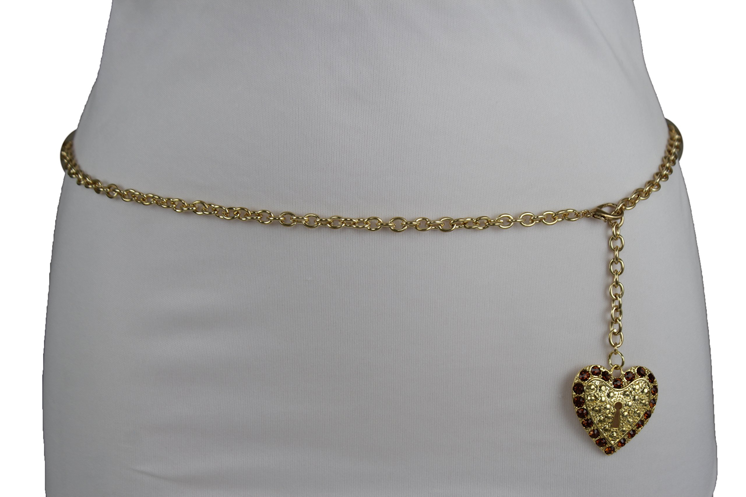 TFJ Women Fashion Narrow Belt Hip High Waist Gold Metal Chains Lock Love Key Heart Buckle (XS-Medium 20''-35'' waist)