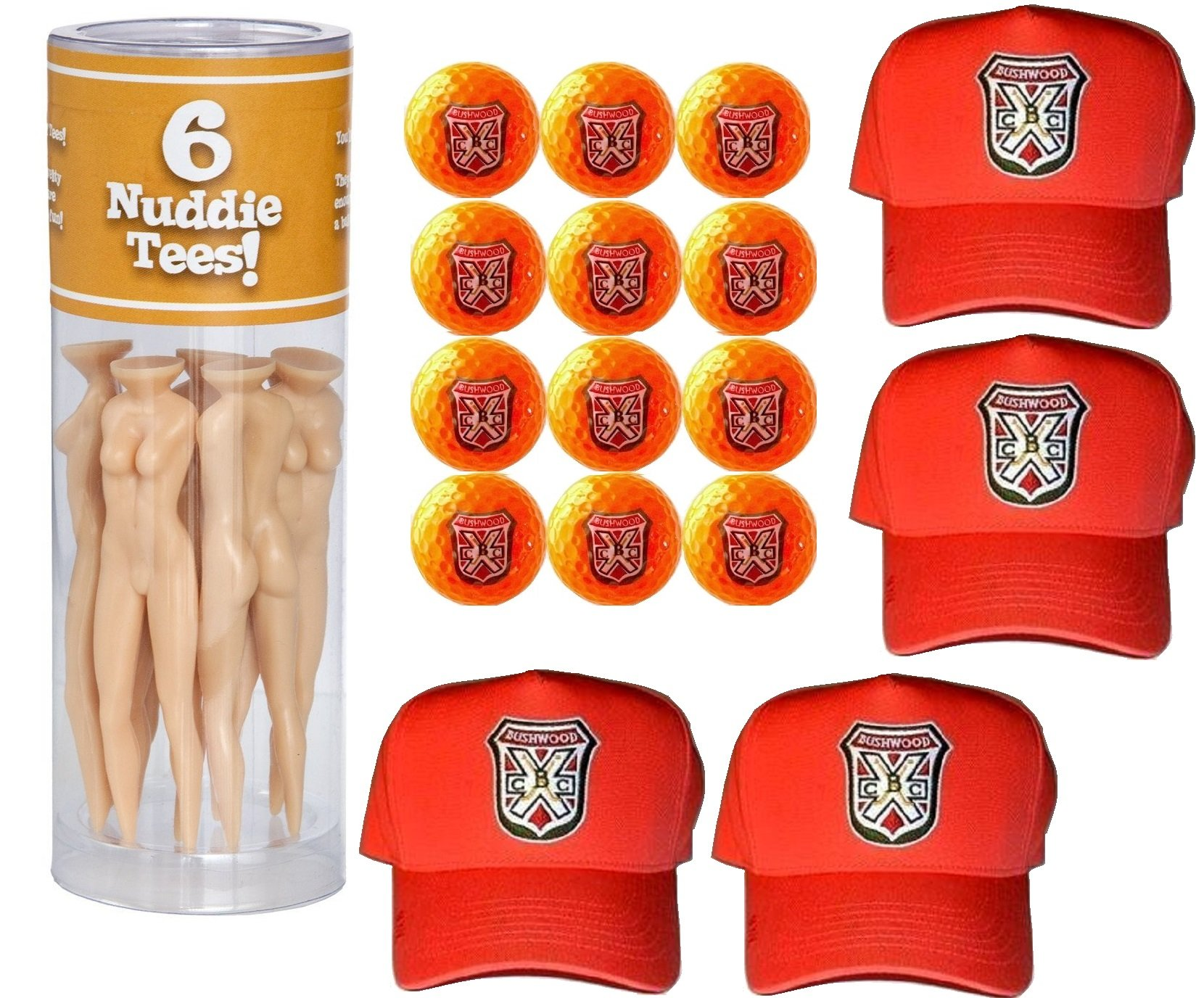 Caddyshack Danny Noonan Foursome Pack (Hats, Naked Lady Tees, Orange Bushwood Golf Balls) by A&R Collectibles