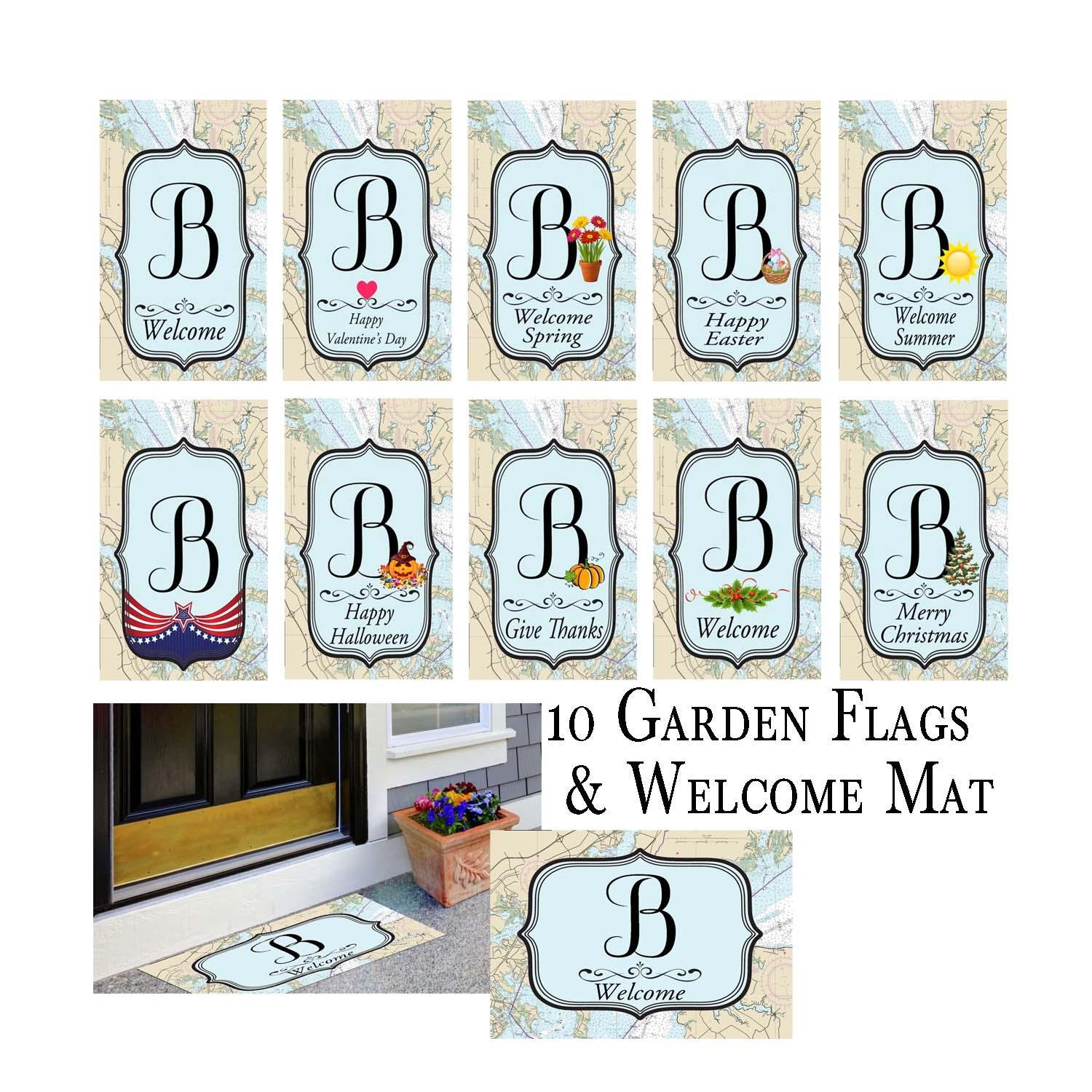 Nautical 10 Holiday Garden Flag Bundle and Welcome Mat Letter: B