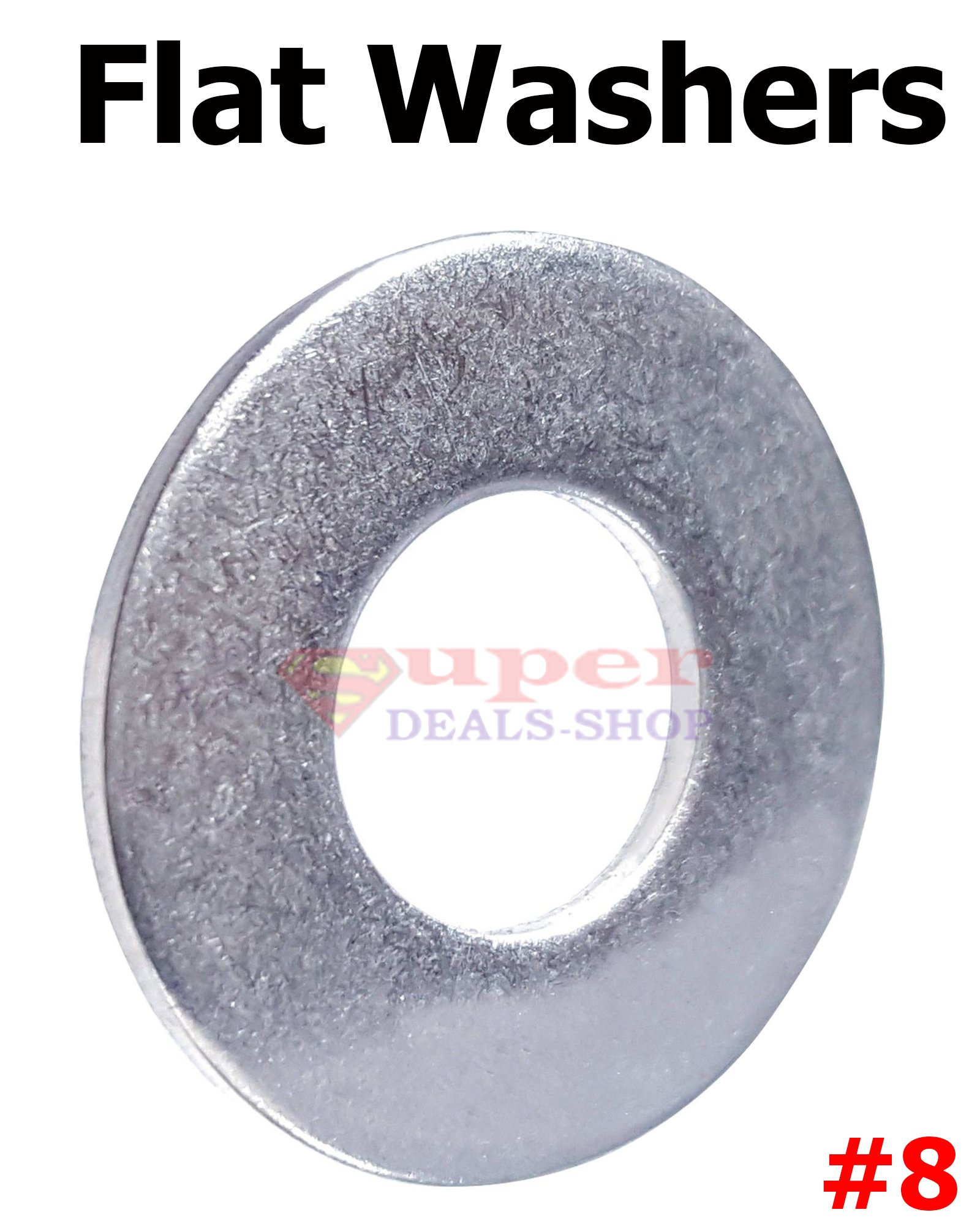 1000 Pcs #8 Stainless Steel Flat Washers SS Flat Washer Flats Super-Deals-Shop