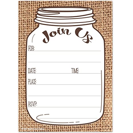 mason jar invitations rustic country burlap print invites 20 count with envelopes