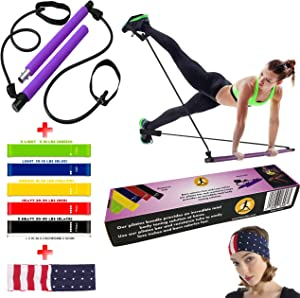FITWELLBE Portable Pilates Bar, 5X Resistance Loop Bands and a Headband. Total Body Toning Flex Bands for Home or Gym Fitness to Empower You on Strength Training, Physical Therapy and Get Fit