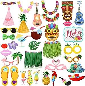 36Pcs Luau Photo Booth Props Kit,Hawaiian Tropical Tiki Beach Summer Pool Party Decorations Supplies