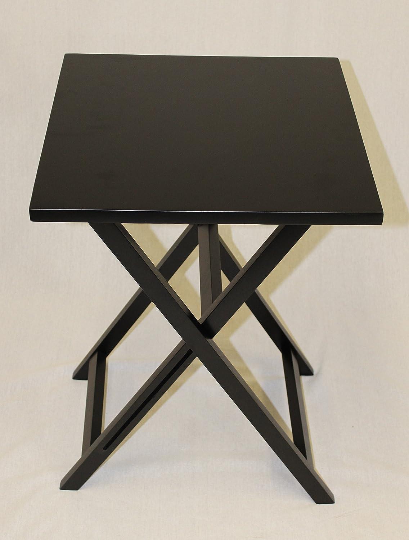 Amazon eHemco Ez Folding Tv Tray Square Top Table Hard Wood