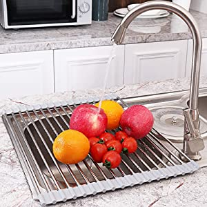 JEMYCO Roll Up Dish Drying Rack Over The Sink, Roll Up Drying Rack, Rolling Sink Rack, Extra-Thick 304 Stainless Steel Tubes (0.5mm Net Thickness), 20.5