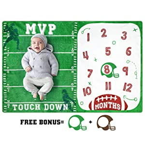 Eunikroko Baby Monthly Milestone Blanket Football Sports Blankets for Toddler Photography Background Prop Soft Plush Fleece