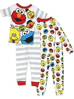 Sesame Street Gang Elmo Boys Girls 4 Piece Cotton Pajamas Set (Baby/Toddler)