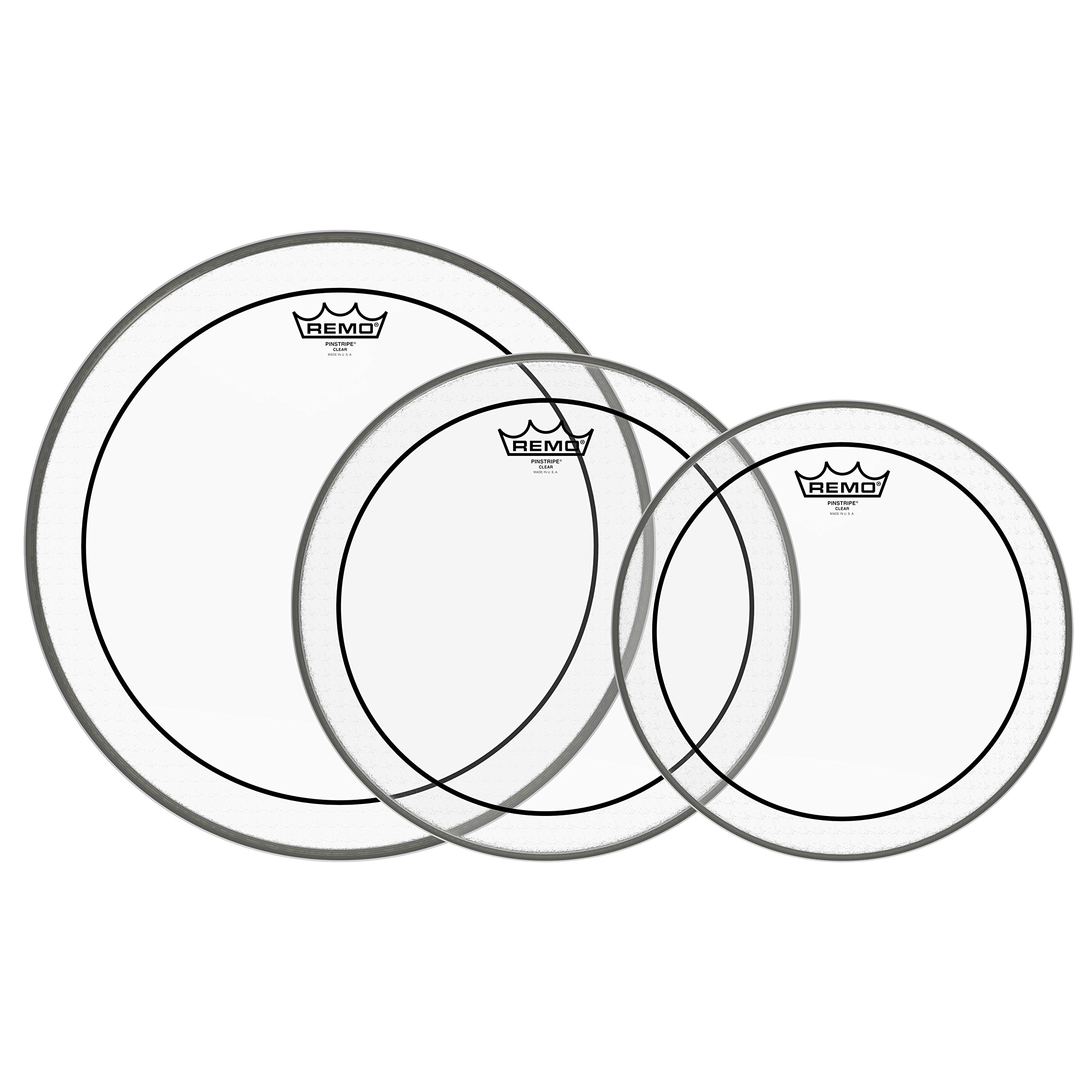 Remo PP-0910-PS Pinstripe Clear Tom Drumhead Pack - 12'', 13'' & 16''