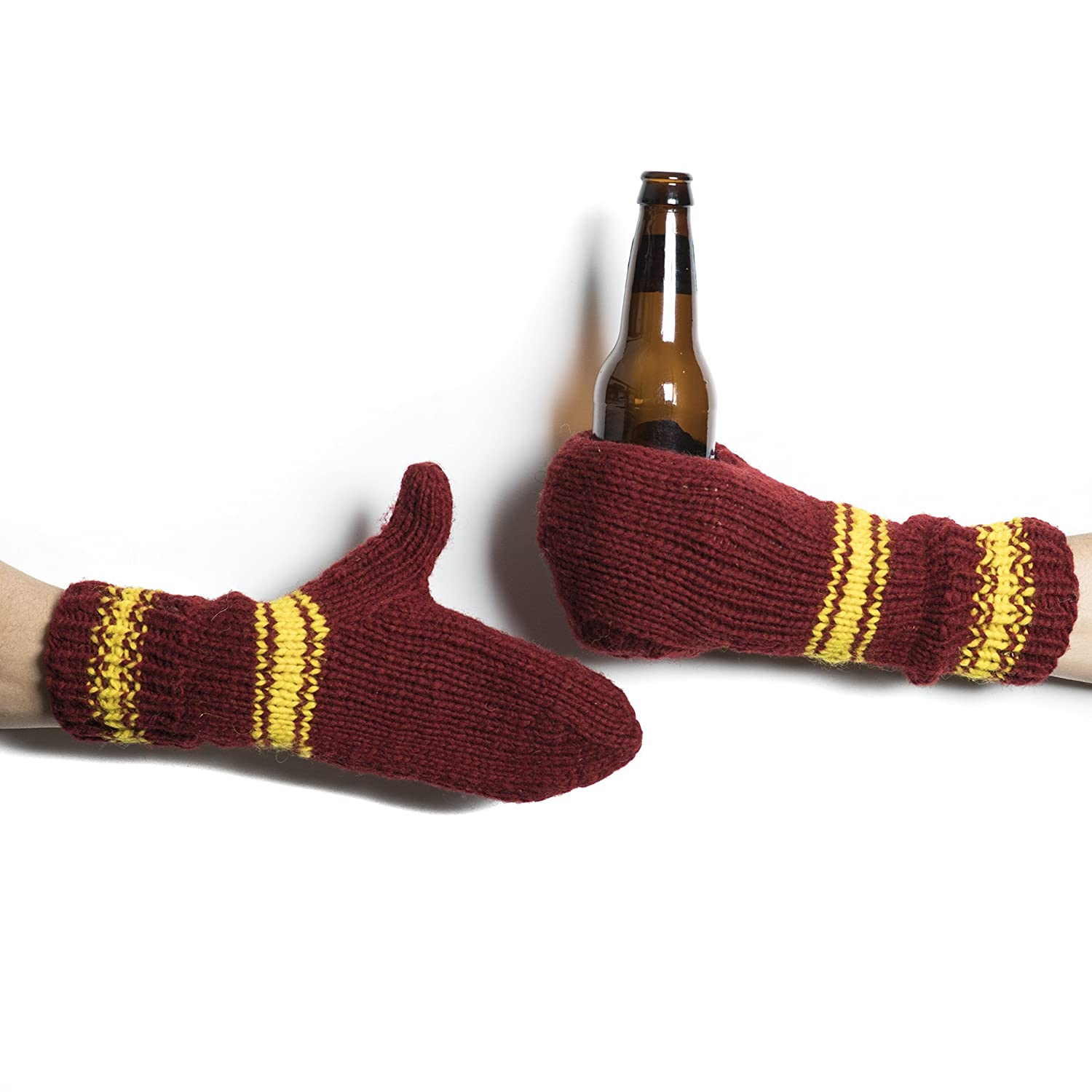 Red Gold Striped Beer Mitten Set Wool Tailgating Mitten Pair Glove