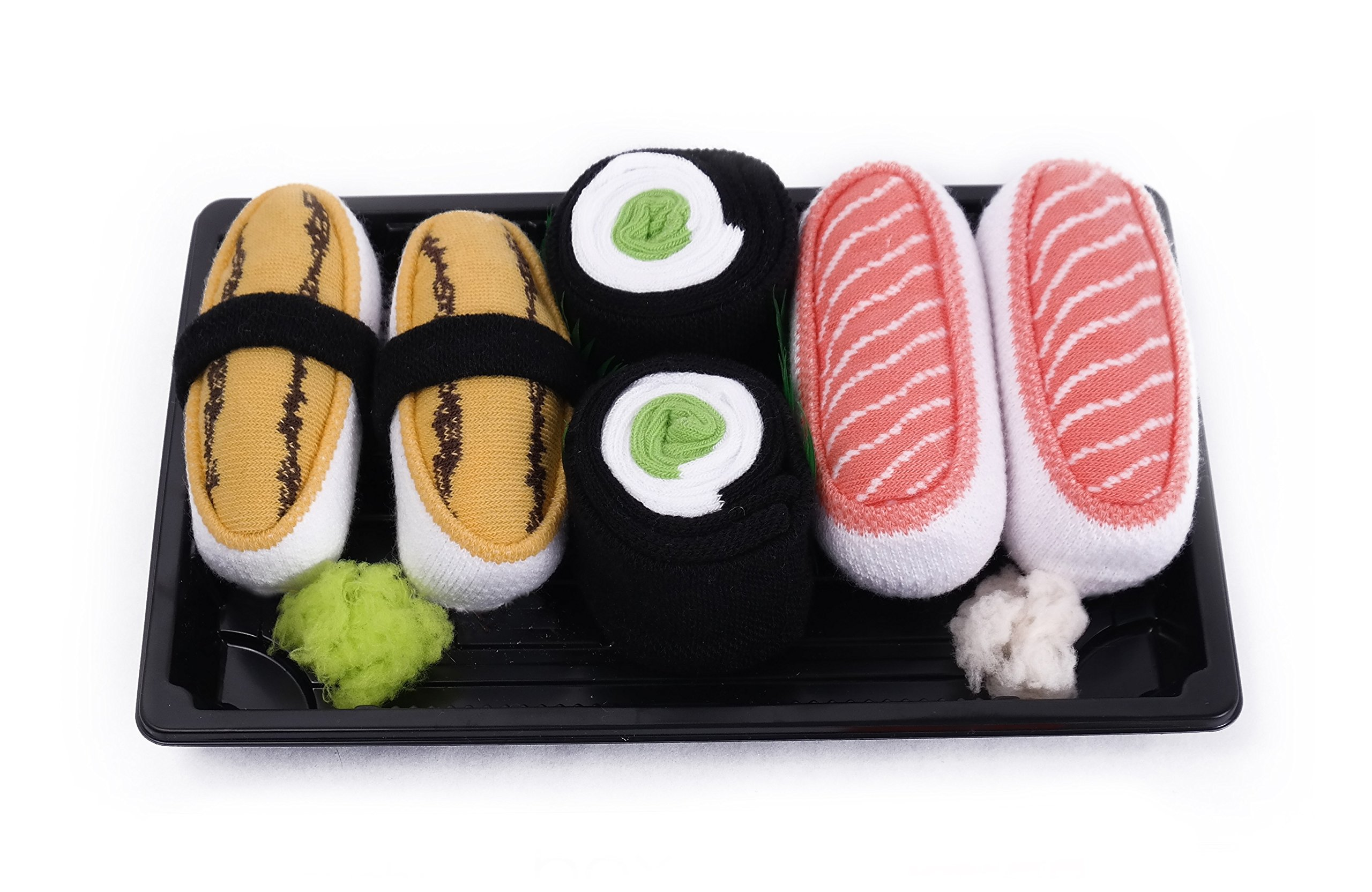 SUSHI SOCKS BOX 3 pairs Tamago Cucumber Salmon FUNNY GIFT! Made in Europe S by Colors of Rainbow (Image #1)