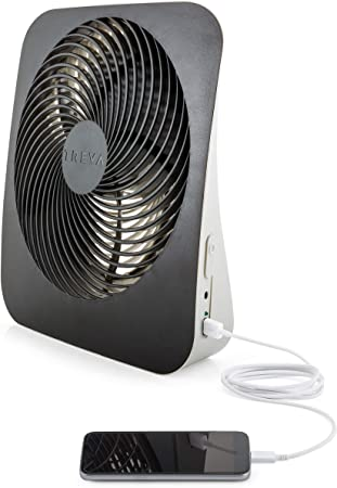 O2COOL Treva 10-Inch Portable Desktop Air Circulation Battery Powered Fan with AC Adapter and USB Charging Port 2 Cooling Speeds