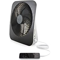 O2COOL Treva 10-Inch Portable Desktop Air Circulation Battery Powered Fan - 2 Cooling Speeds - with AC Adapter and USB…
