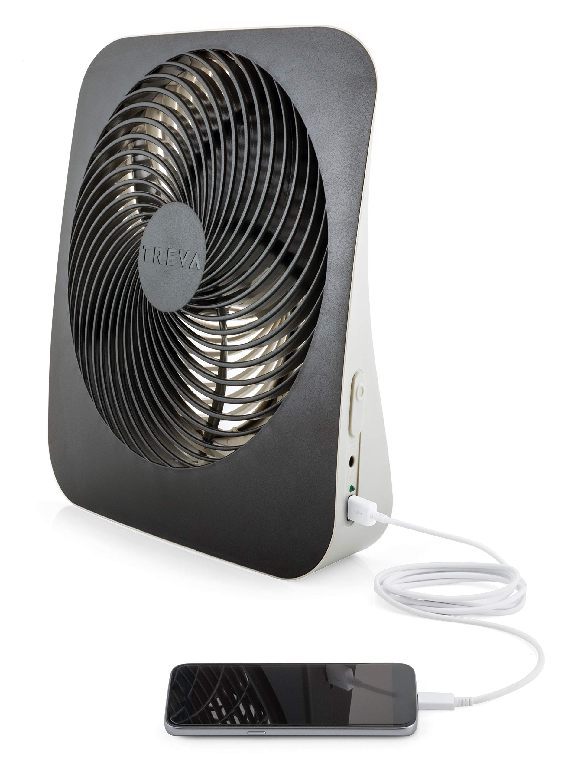 O2COOL Treva 10-Inch Portable Desktop Air Circulation Battery Powered Fan - 2 Cooling Speeds - with AC Adapter and USB Charging Port by O2COOL