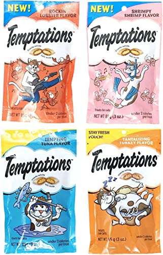 Temptations Cat Treats Variety Pack Bundle of 4 Flavor Pouches Rockin Lobster, Shrimpy Shrimp, Tempting Tuna, Tantalizing Turkey 3 oz Each