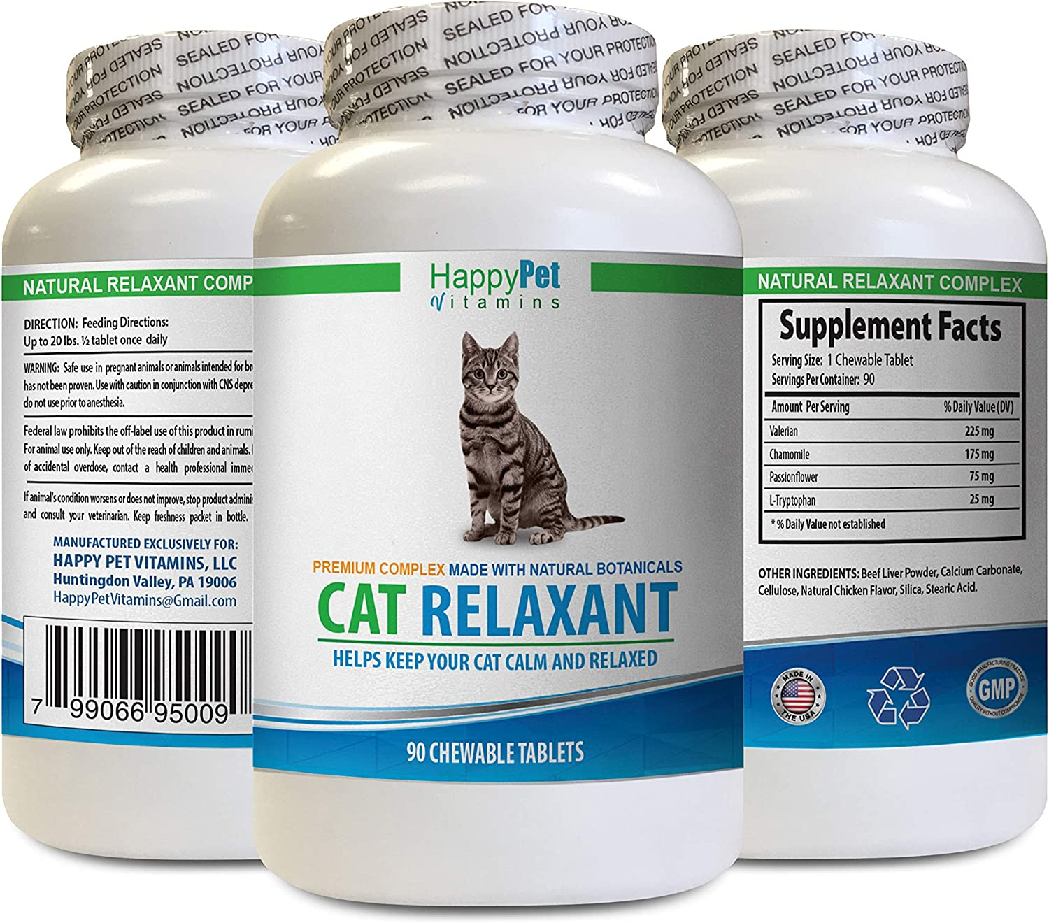 HAPPY PET VITAMINS LLC cat Anxiety - CAT Relaxant - Anxiety and Stress Relief - Natural Calmer - Premium - tryptophan cat Food - 1 Bottle (90 Chewable Tabs)