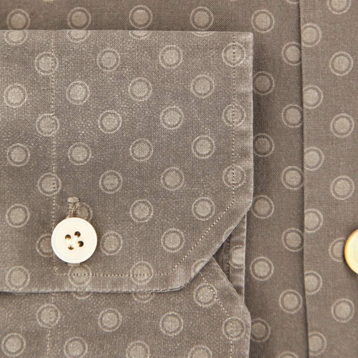 Kiton Paisley Button Down Spread Collar Cotton Slim Fit Dress Shirt