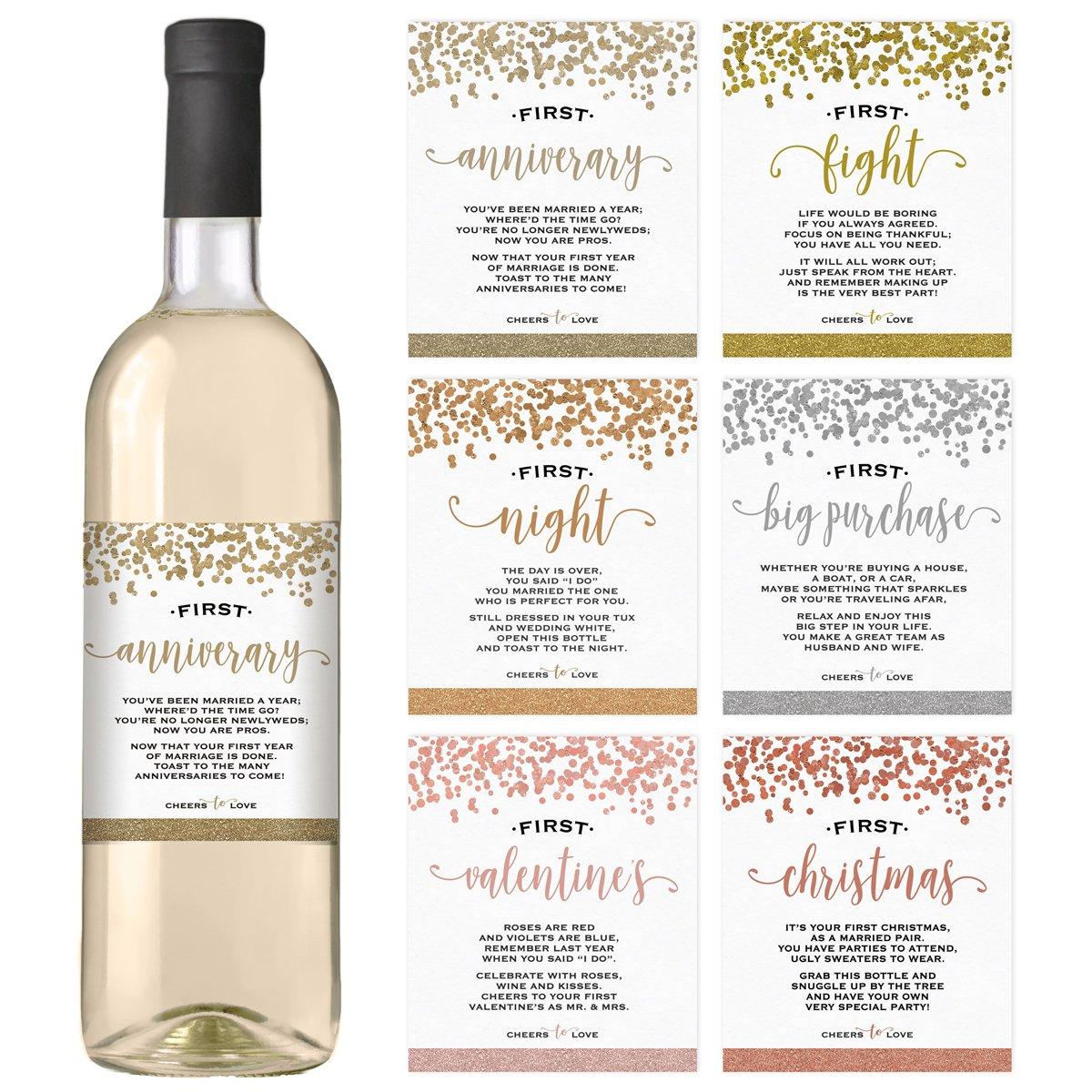Wine Bottle Labels for Wedding Gift Set of 6 | Bridal Shower Engagement Bachelorette Party | Wedding Milestones | Wedding Wine Firsts Labels
