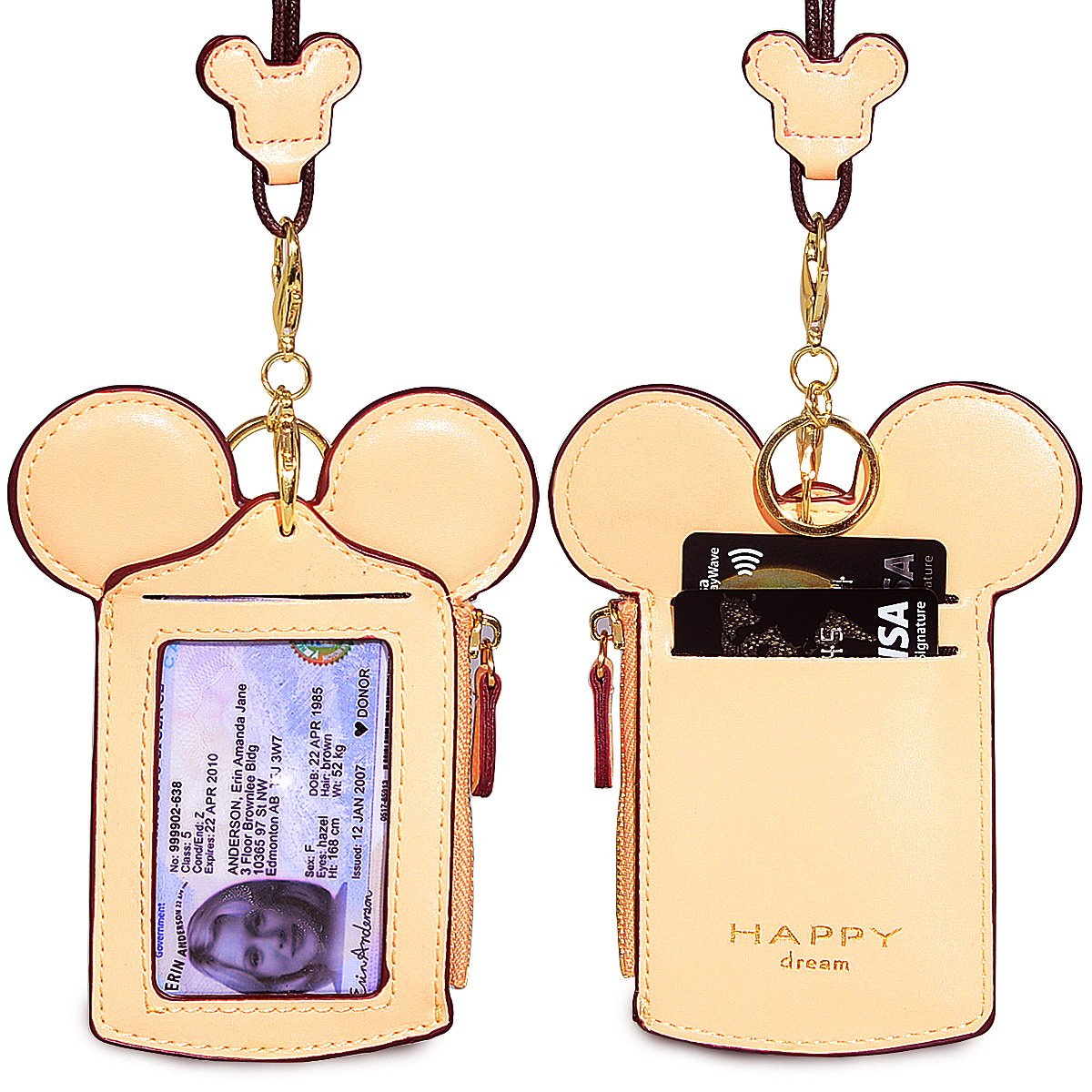 Student ID Card Holder Small Coin Wallet Purse Cute Fashion Neck Pouch for Kids Girls (Beige)
