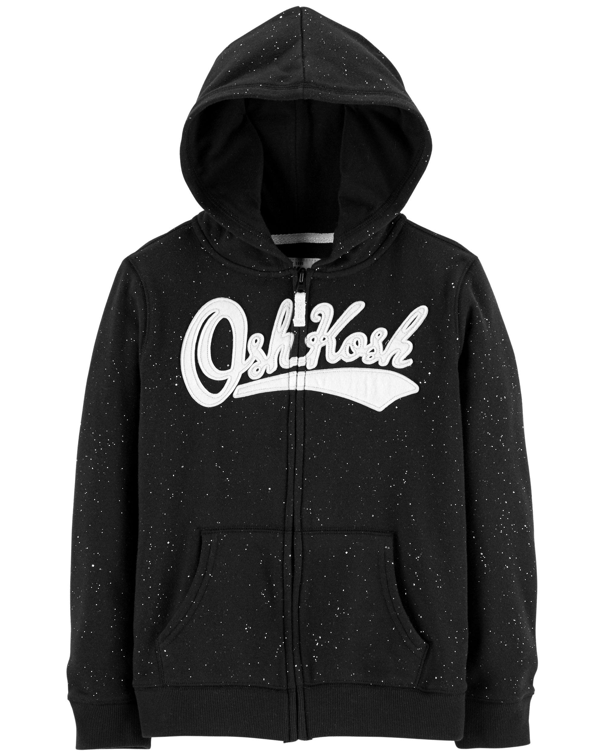OshKosh B'Gosh Girls' Toddler Full Zip Logo Hoodie, Black Glitter, 4T