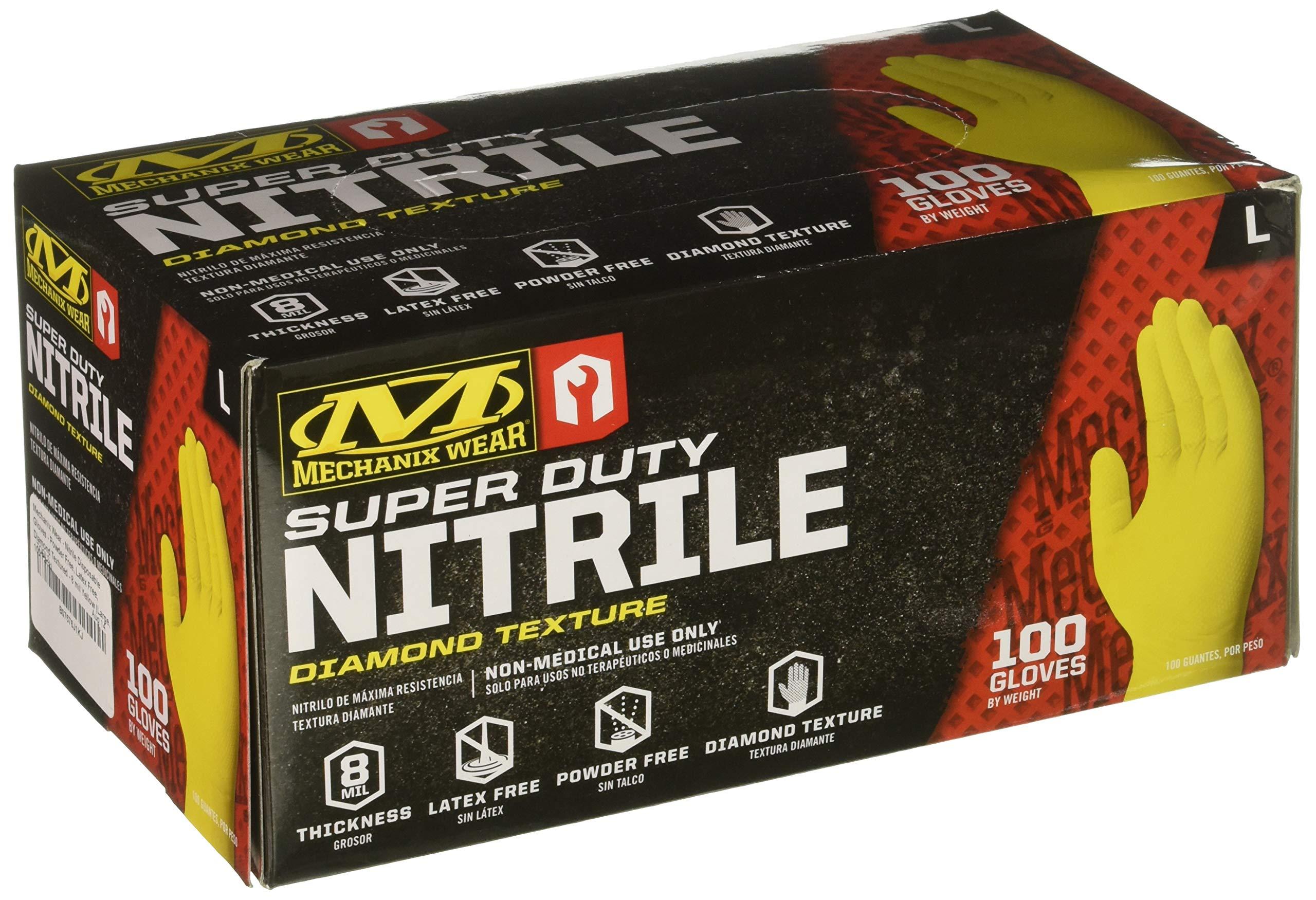 Mechanix Wear - Nitrile Disposable Gloves - Powder Free, Latex Free, Diamond Textured - 8 mil Yellow (Large, 100 Pack) by Mechanix Wear (Image #2)