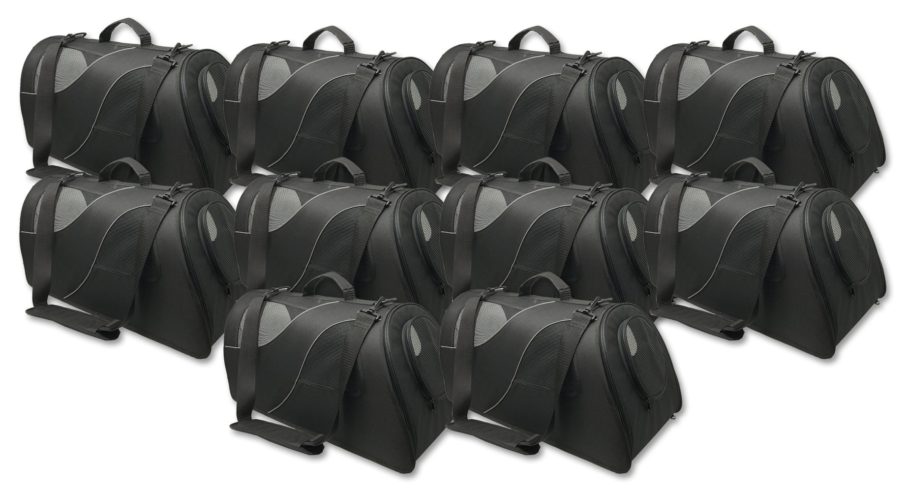 Fuzzy Buddy FB-SS-BL-10 Soft-Sided Pet Carrier for Small Dogs and Cats, Black, 10-Pack by Fuzzy Puppy Pet Products (Image #1)
