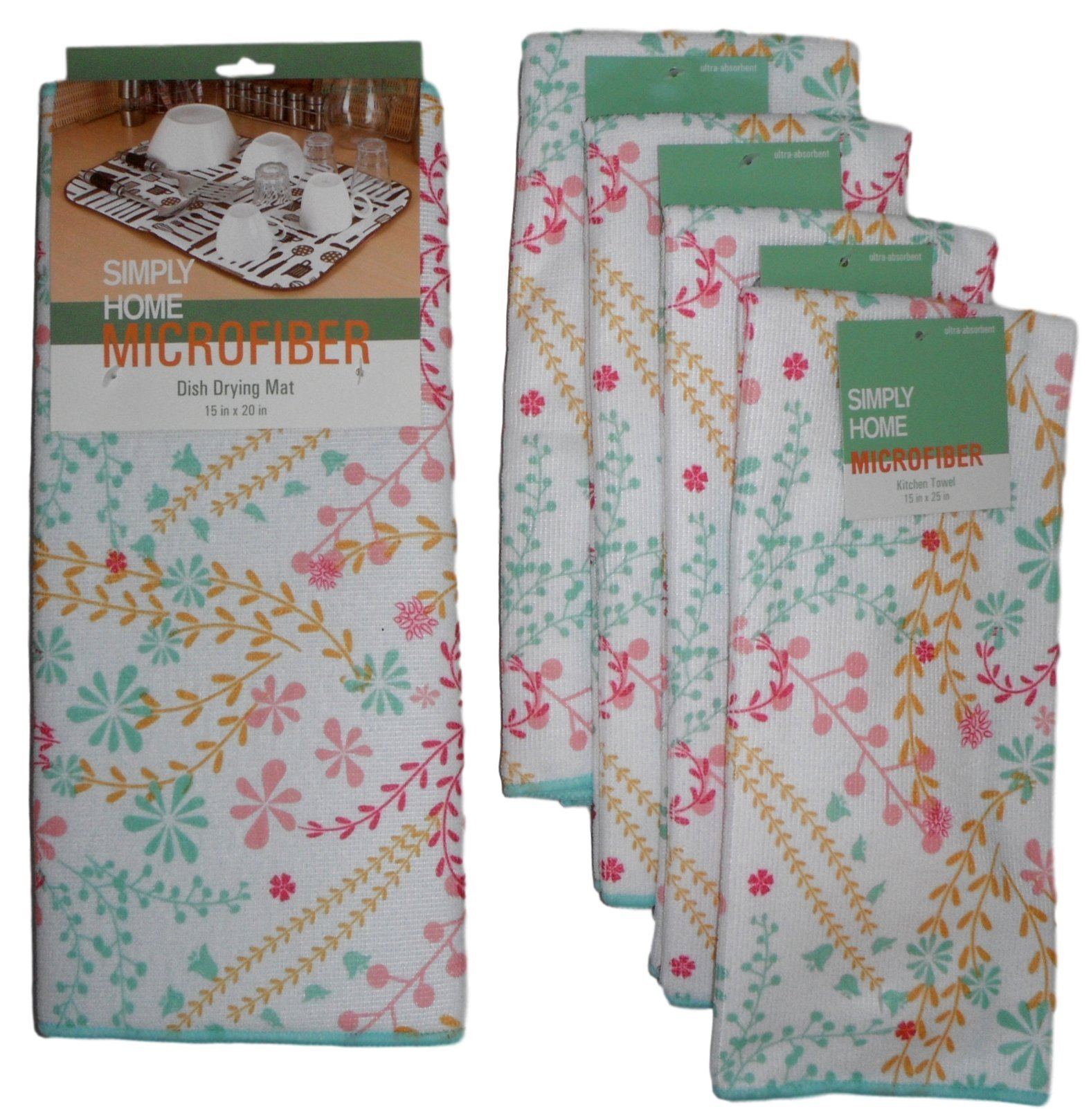 Simply Home Microfiber Dish Drying Mat and Dish Towels - Set of 5 Items (White - Pink, Yellow, and Mint Green Floral)