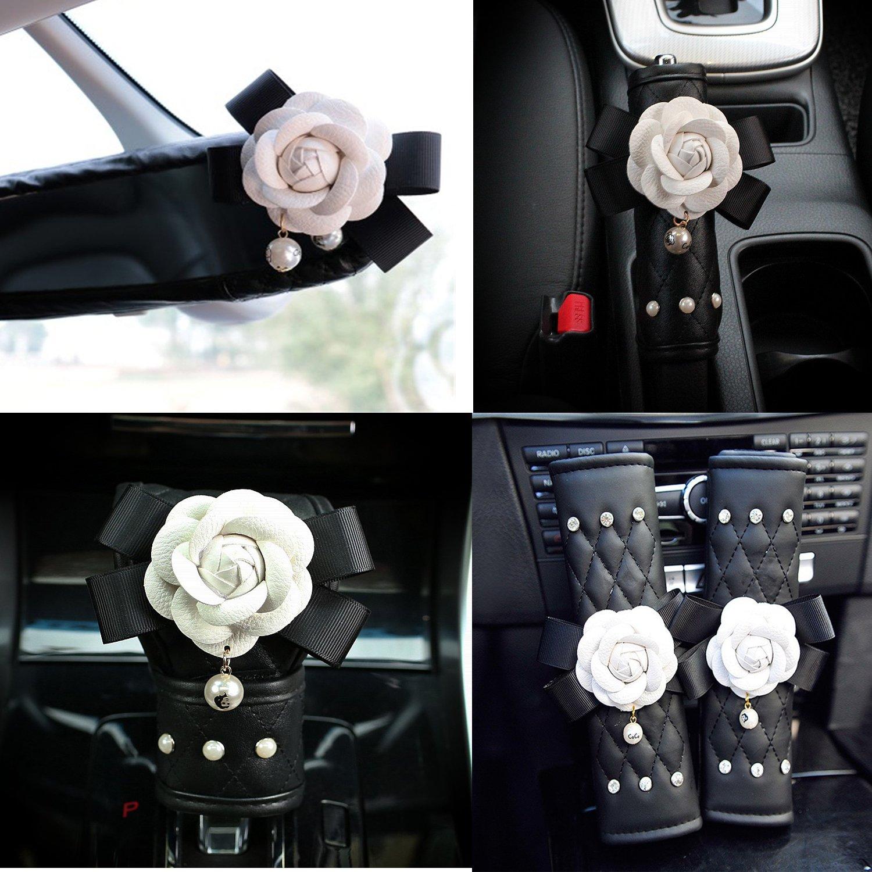 Follicomfy Cute Camellia Flower Leather Car Handbrake Cover Gears Shift Case Crystal Seatbelt Cover Auto 5PCS/Set Interior Accessories,White Flower