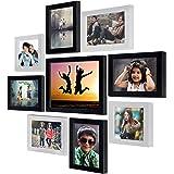 "Ajanta Royal Set of 9 Individual Photo Frames (6-5""x7"", 2-5""x5"", 1-8""x10"" Inch) : A-90 (Black-White)"