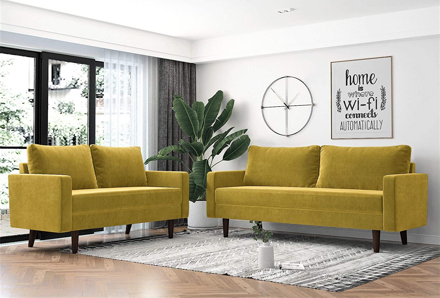 US Pride Furniture Sectional, Golden Yellow