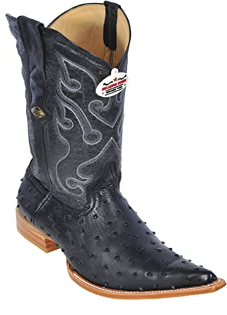 Men's 3X-Toe Genuine Leather Ostrich Skin Western Boots