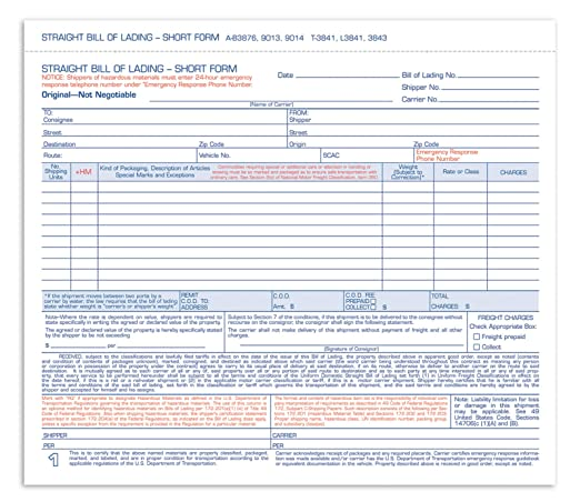 AmazonCom  Adams Bill Of Lading Short Forms  X  Inch