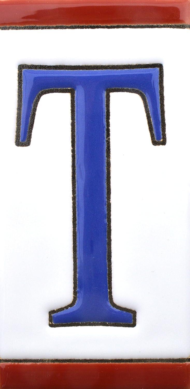 Numeros y letras en azulejo de ceramica direcciones y se/ñal/éctica pintados a mano en t/écnica cuerda seca para nombres NUMERO OCHO 8 N/úmeros casa Dise/ño USA MEDIANO 10,9 cm x 5,4 cm.