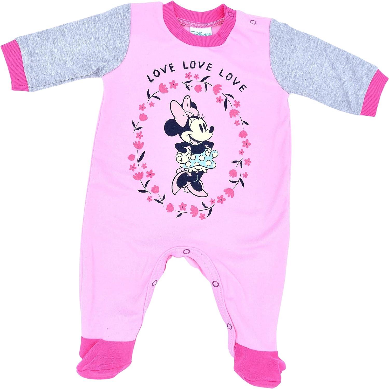 Disney Baby Minnie Maus Strampler Gr/ö/ße 56 62 68 74f/ür M/ädchen in Rosa Grau Babys Schlafanzug Langarm mit F/ü/ßchen Einteiler 0-12 Monate