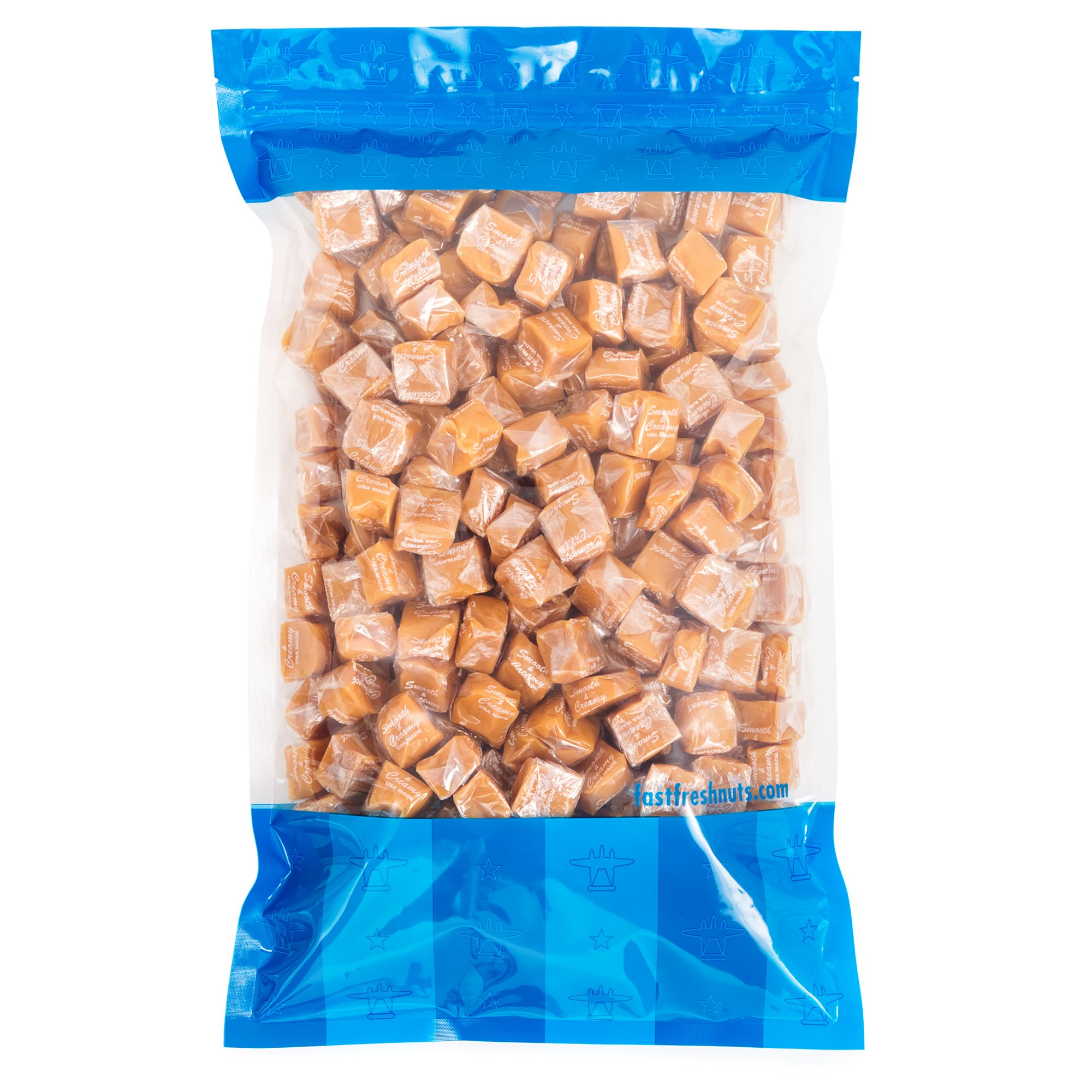 Bulk Smooth and Creamy Caramel Squares - 5 lbs in a Resealable Bomber Bag - Great for Office Candy Bowls - Baking - Wholesale - Parties - Holiday Candy !!