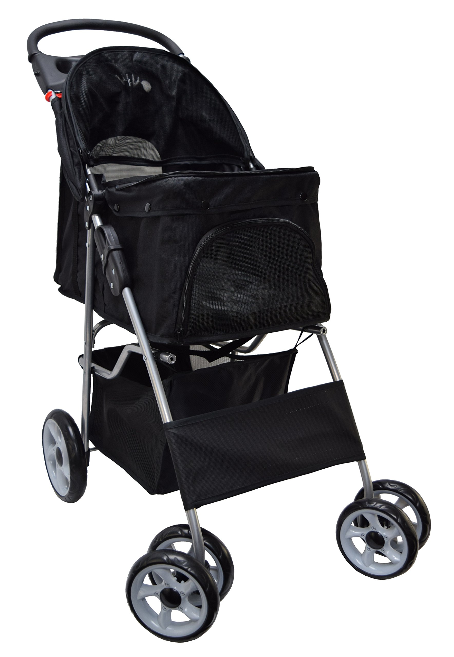 VIVO Four Wheel Pet Stroller, for Cat, Dog and More, Foldable Carrier Strolling Cart, Multiple Colors (Black) by VIVO (Image #4)