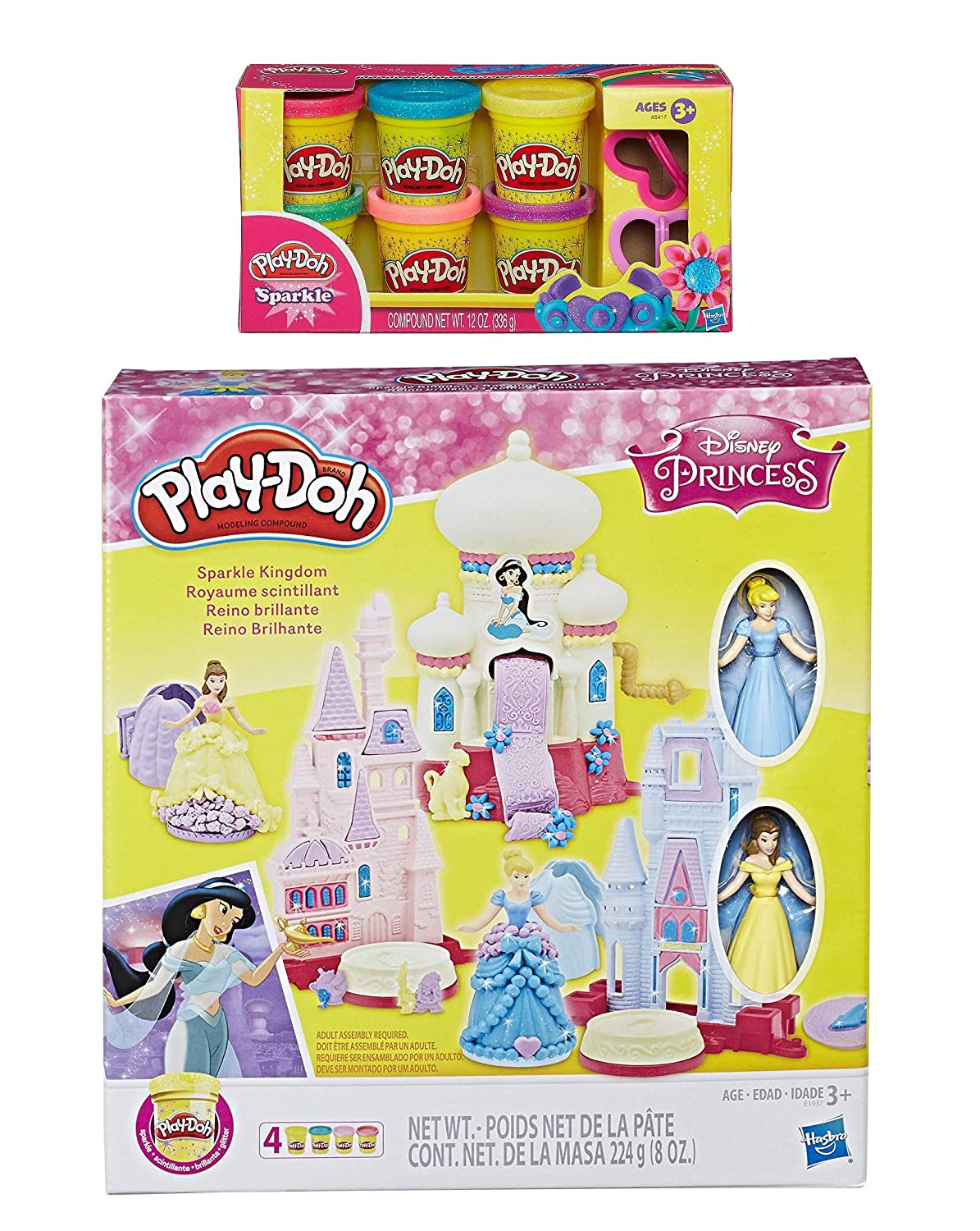 PD Play Doh Disney Princess Sparkle Kingdom Play Doh Sparkle Compound Bundle