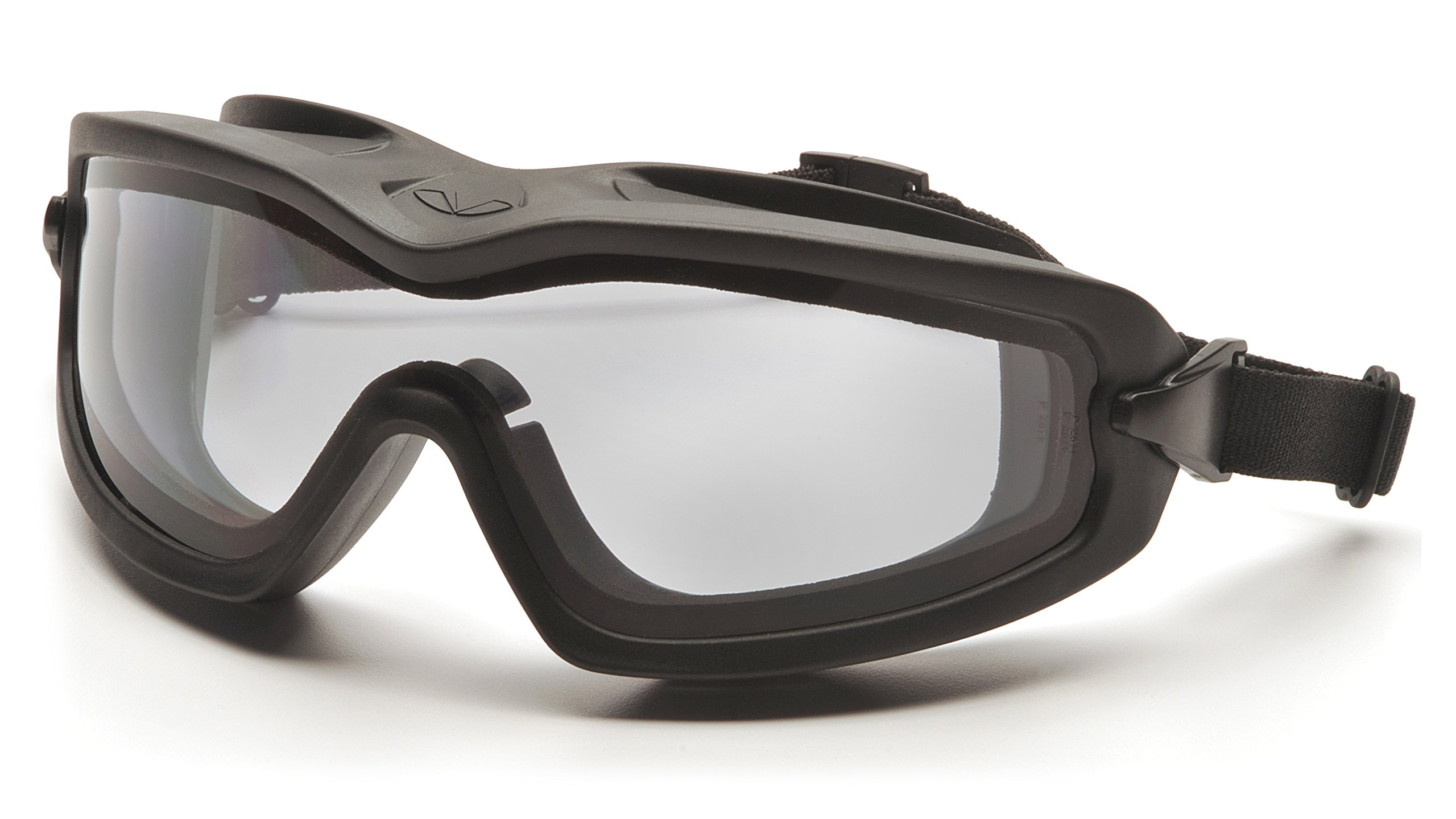 Pyramex V2G Safety Goggles with Adjustable Strap, Black Frame, Dual Clear H2X Anti-Fog Lens