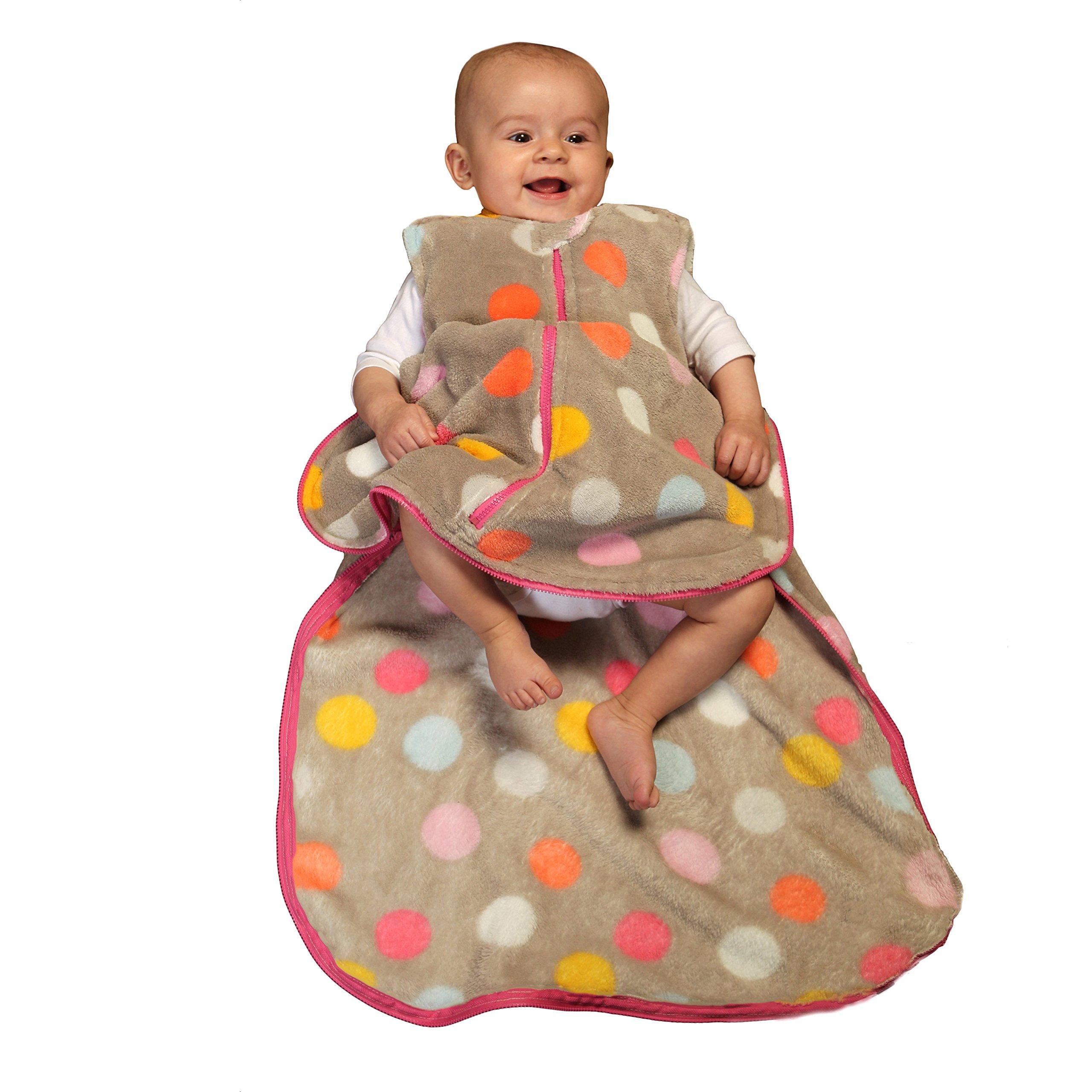 Gunapod Sleep Sack Girl Fleece Wearable Blanket Baby Sleeping Bag 9-18 months, Grey/Multi Dots