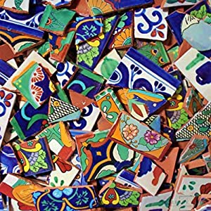 Broken Talavera Mexican Tile in Mixed Desings A1 Quality Tiles, 15 Pounds