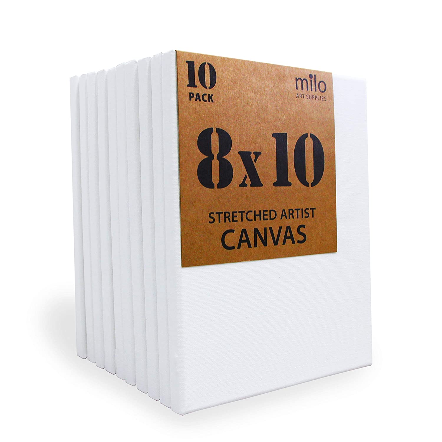 8 x 10 Pre Stretched Artist Canvas Value Pack of 10 Primed Cotton Canvas for Painting MILO 5//8 Profile Gallery Wrapped Back Stapled