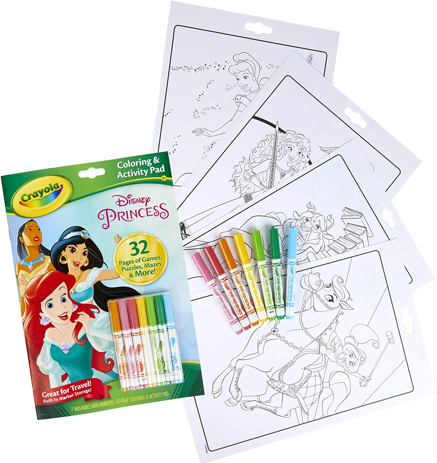 Amazon.com: Crayola Disney Princess Color & Activity Book, 32 Coloring Pages  & 7 Mini Markers, Gift for Kids, Packaging May Vary: Toys & Games