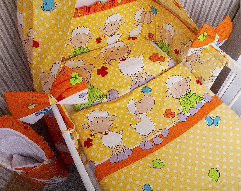 Amilian® Baby Bettwäsche 135/100 + 40/60 - 2tlg Kinderbettwäsche Bettset Schaf Orange Glocal Berlin