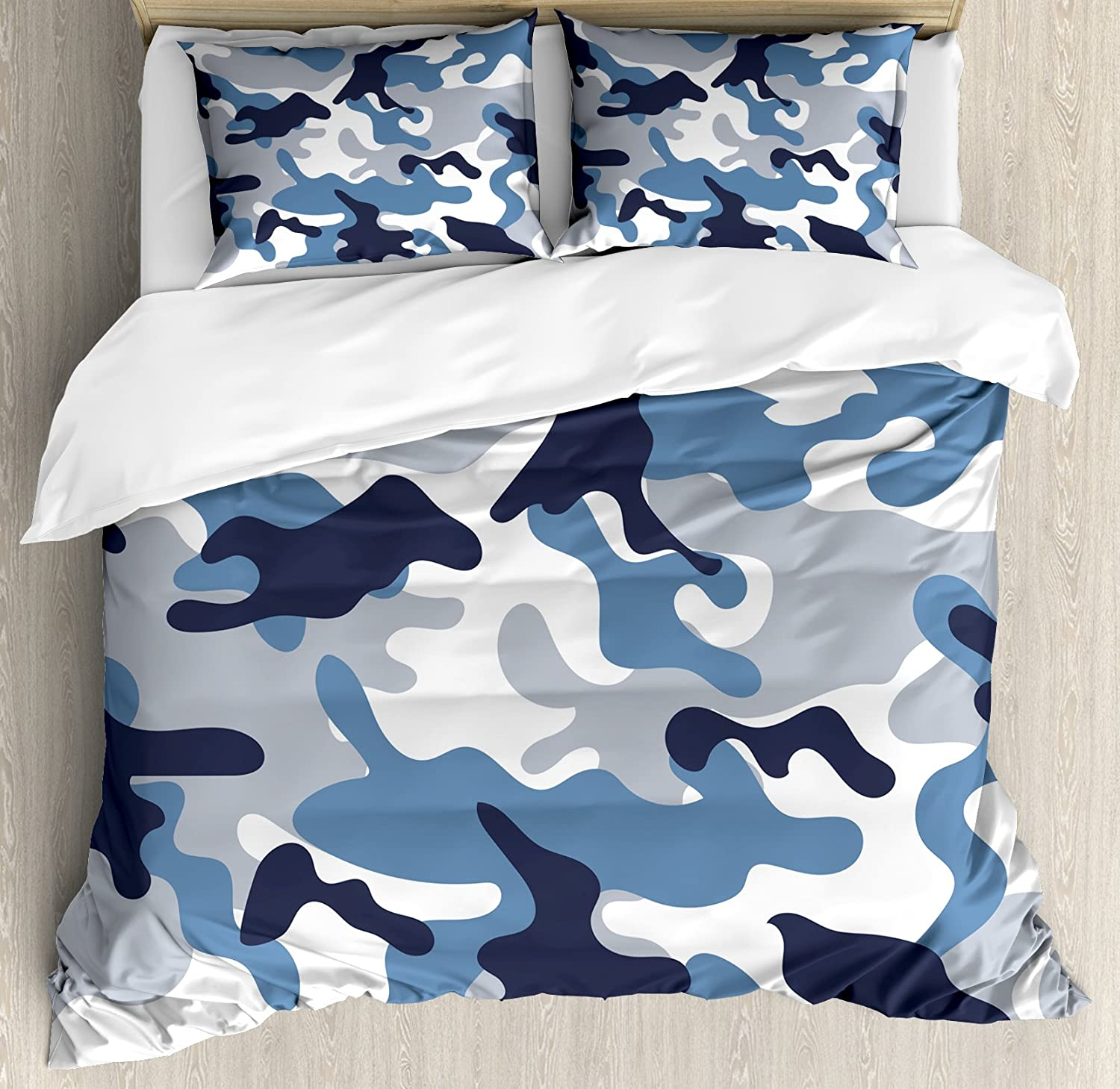 Ambesonne Camouflage Duvet Cover Set, Illustration with Abstract Soft Colors Pattern Camouflage Design, Decorative 3 Piece Bedding Set with 2 Pillow Shams, Queen Size, Blue Indigo
