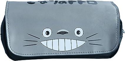 Estuche para lapiceros con dibujos de Anime, diseño de Totoro, con dos compartimientos: Amazon.es: Oficina y papelería