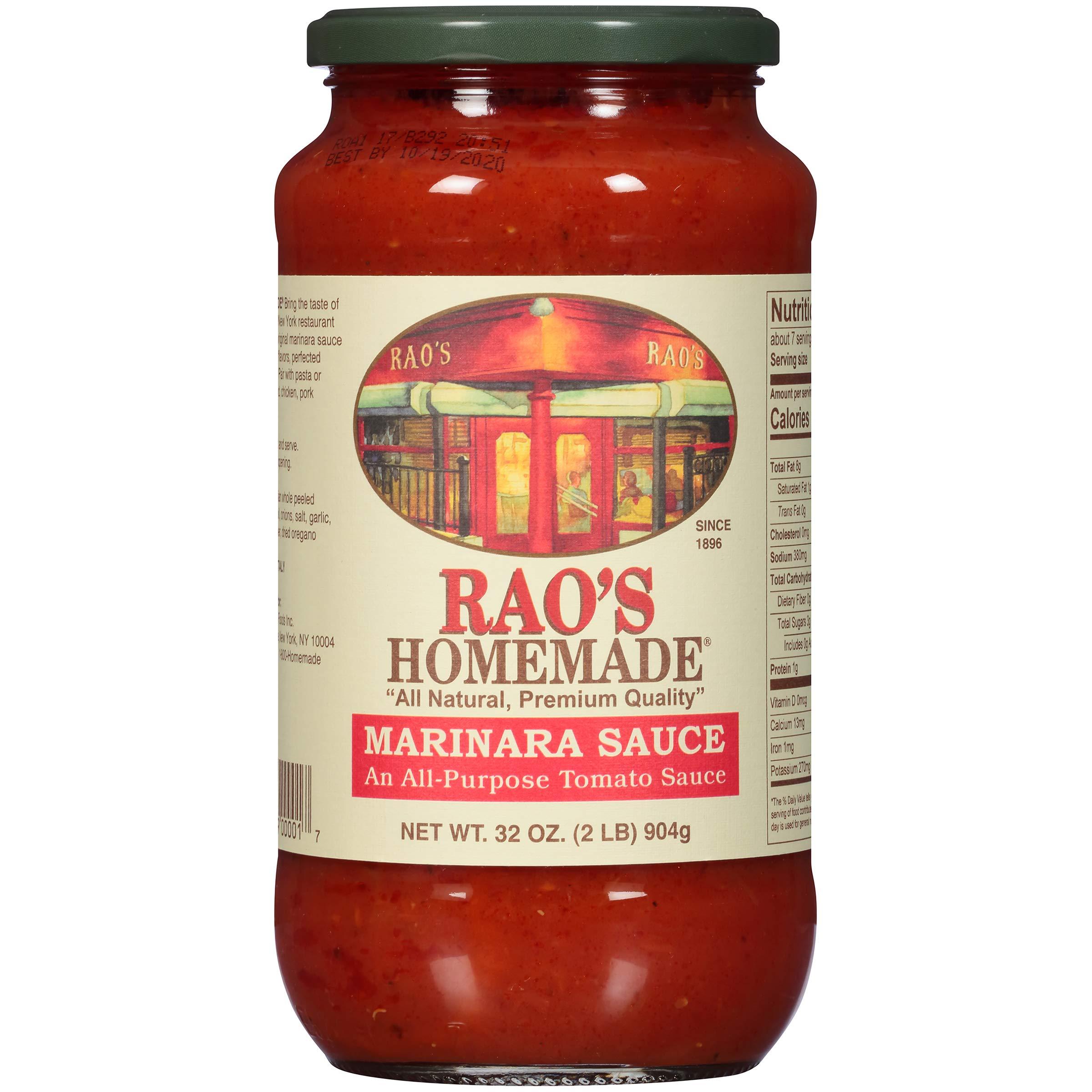 Rao's Homemade Marinara Sauce, 32 Oz Jar, Classic Italian Tomato Sauce, Great on Pasta, Made With Fresh Basil, Italian Tomatoes, Garlic, and Seasonings, No Sugar Added