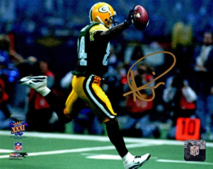 142074c93 Andre Rison Signed Green Bay Packers Super Bowl XXXI Action 8x10 ...