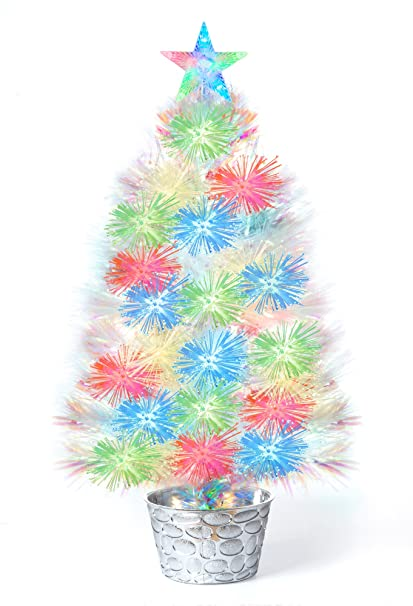 white fiber optic christmas tree 25h tabletop decoration with multi color lighted